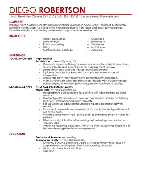 resume sles for hospitality industry best auditor resume exle livecareer