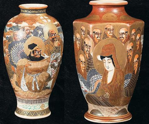 Religious Vases by Two Or Japanese Porcelain Vases With Religious Theme
