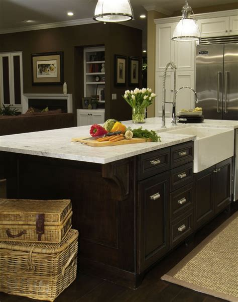 farmhouse island kitchen traditional dark wood kitchen island with farmhouse sink