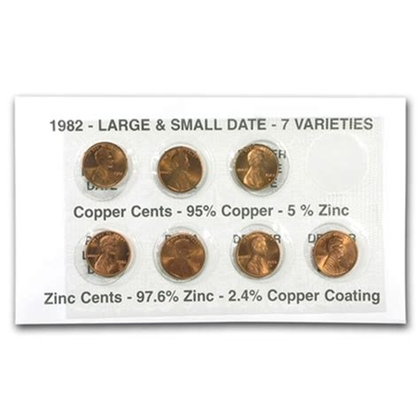 lincoln cent varieties 1982 lincoln cents all 7 varieties in holder