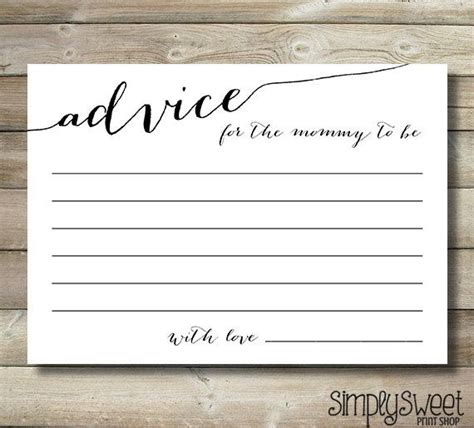 New Advice Cards Template by Baby Shower Advice Cards For The To Be Gender