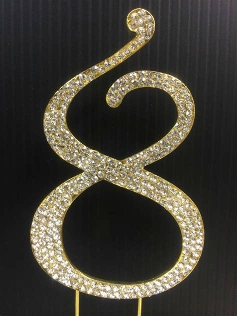 Gold Rhinestone NUMBER (8) Cake Topper 8th Birthday Party