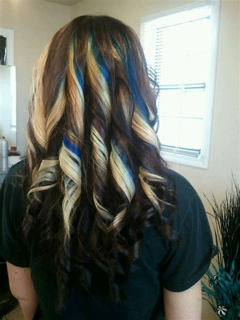 with blue streaks subtle blue streaks in brown hair the curls