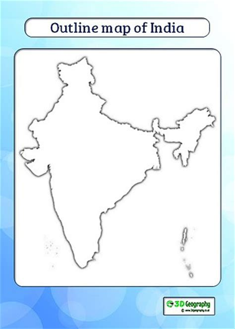 India Physical Map Outline In A4 Size by India Map