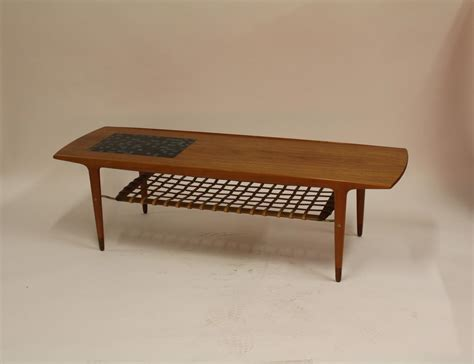 Coffee Table Magazine Rack Vintage Teak Coffee Table With Ceramic Tiles And Leather Magazine Rack For Sale At Pamono