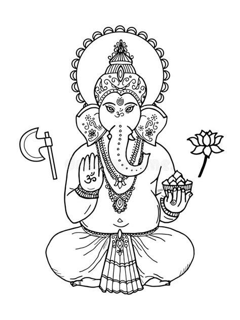 elephant yoga coloring page hindu elephant head god lord ganesha indian hindu motifs