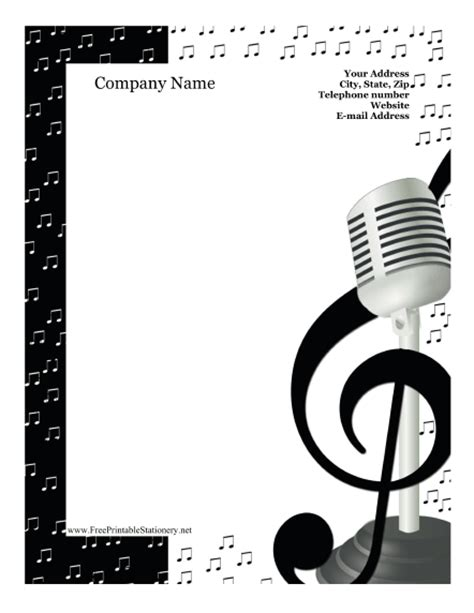 Printable Music Stationery | singing stationery