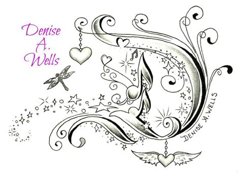 tattoo fonts with hearts fancy letter d design by a including