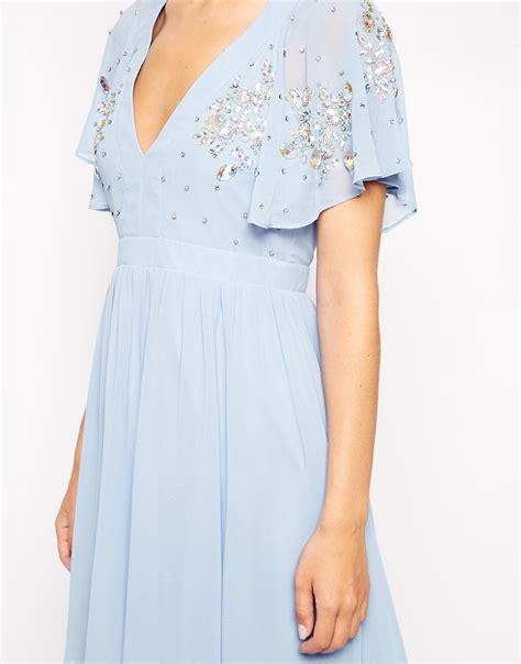 lyst asos embellished flutter sleeve skater dress in blue