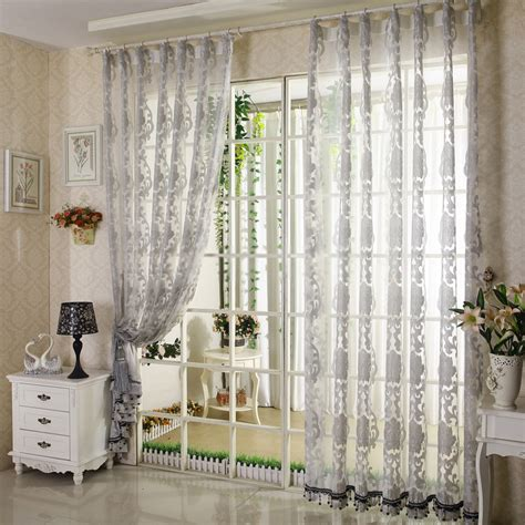 sheer curtains pattern elegant floral living room grey patterned sheer curtains
