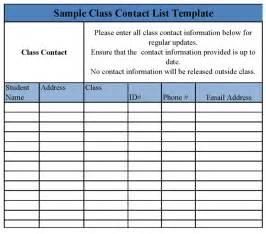 class contact list template class contact list template sample templates class student contact list template excel for school