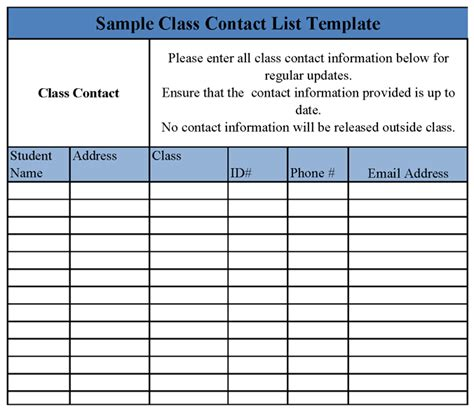 team contact list template class contact list template sle templates