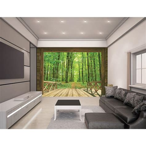 woodland wall mural walltastic 120 in h x 96 in w woodland forest wall mural wt43572 the home depot
