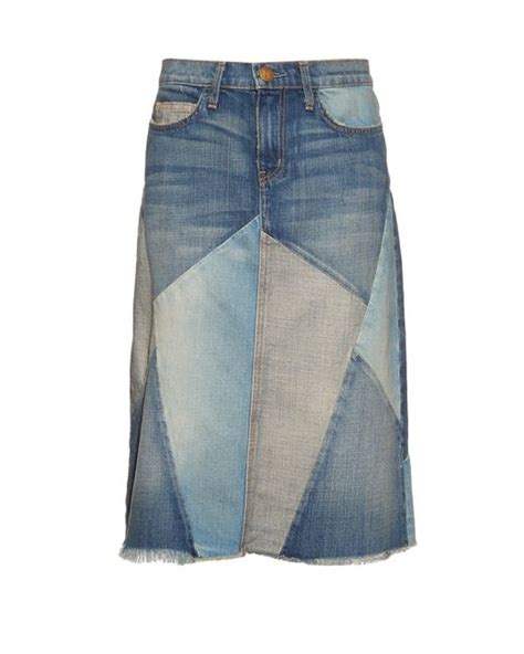 Patchwork Denim Skirt - current elliott patchwork denim skirt in blue denim