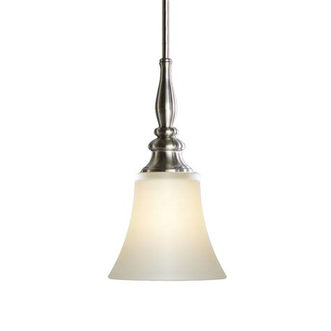 Lowes Kitchen Pendant Lights Shop Allen Roth 6 25 In W Brushed Nickel Mini Pendant Light With Frosted Glass Shade At Lowes