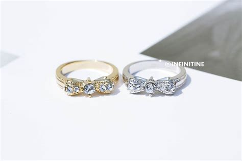 classic cz knot ribbon kuckle ring jewelry ring