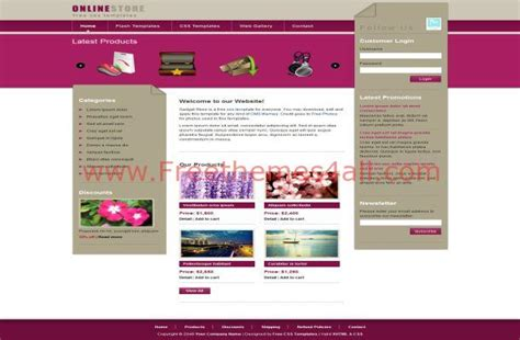 free website templates html css jquery pink gadgets store free jquery css website template