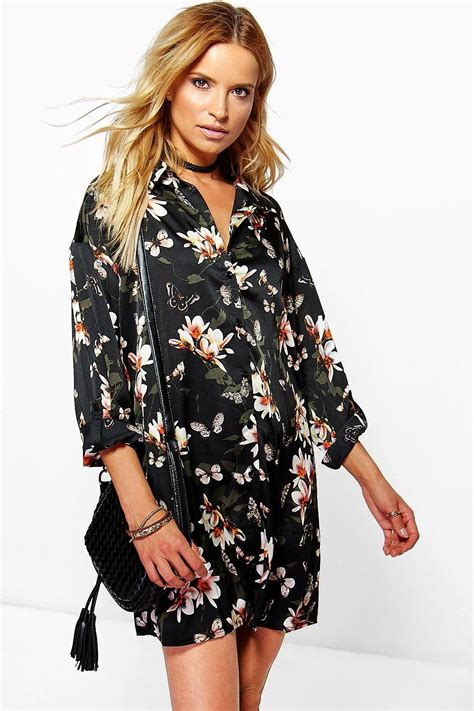 Shirt Dress Floral lissandra floral shirt dress at boohoo