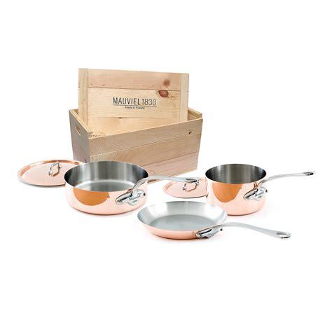 copper cookware set mauviel m heritage m 150s 5 copper cookware set w wooden crate ebay