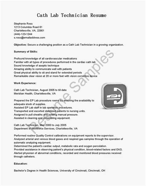 Cath Lab Technician Resume Sle Cath Lab Technician Resume Sales Technician Lewesmr
