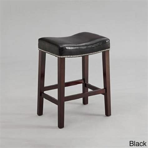 Black Leather Bar Stools Counter Height | black or red leather nailhead saddle counter height bar