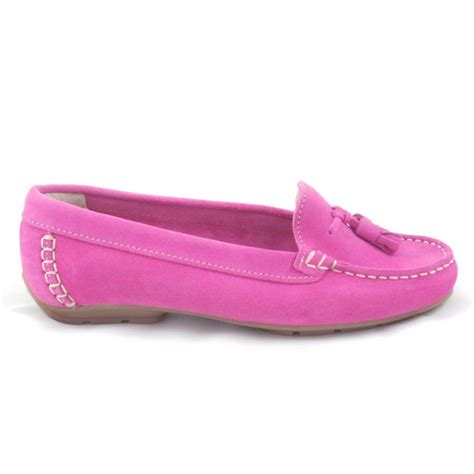 vanilla moon fuschia pink suede slip on flat loafer