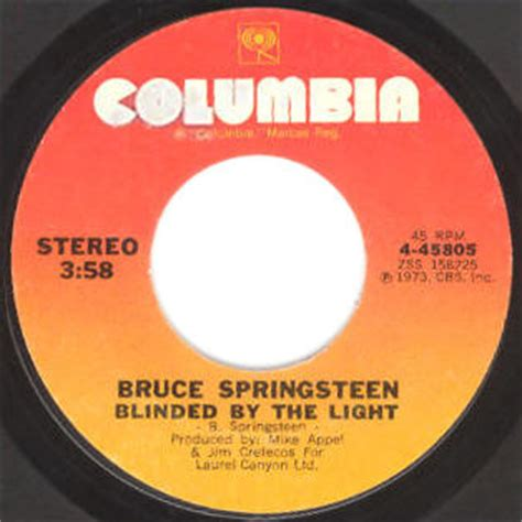 Blinded By The Light Song by Bruce Springsteen Lyrics Blinded By The Light Album Version