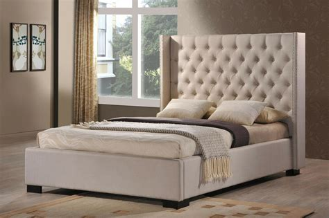 luxeo newport wingback tufted upholstered bed in palazzo mist fabric ebay