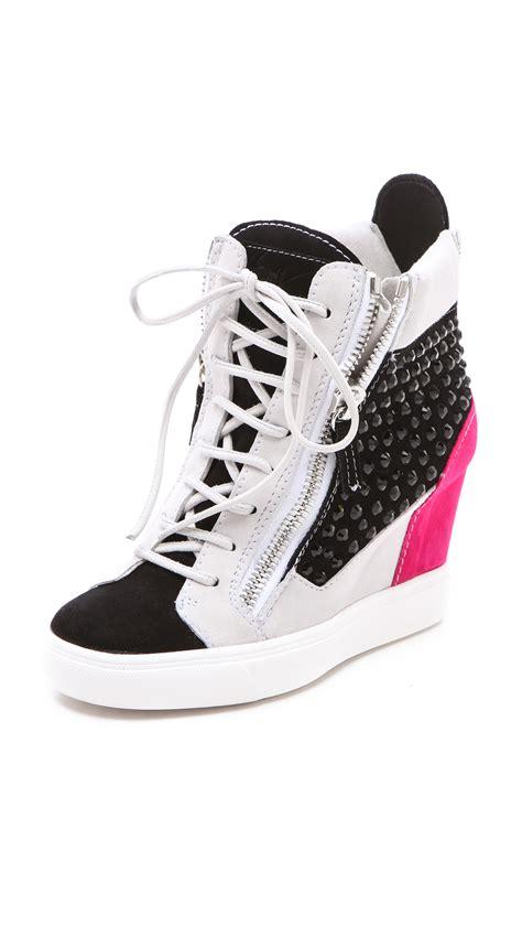 giuseppe zanotti sneaker wedge giuseppe zanotti zip wedge sneakers in black lyst