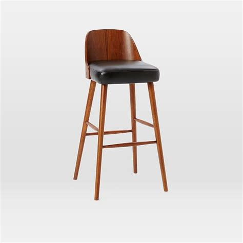 leather top bar stools bentwood leather bar counter stools west elm