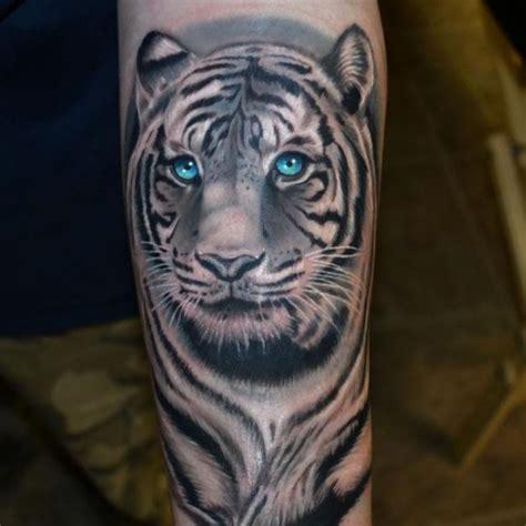 white tiger tattoos blue white tiger on forearm