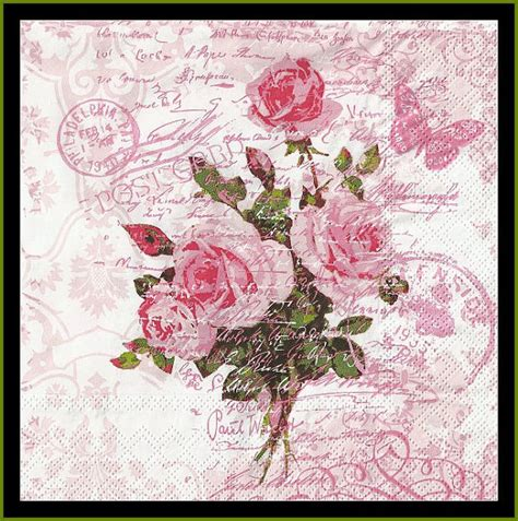 4 pink shabby chic paper napkins use for decoupage