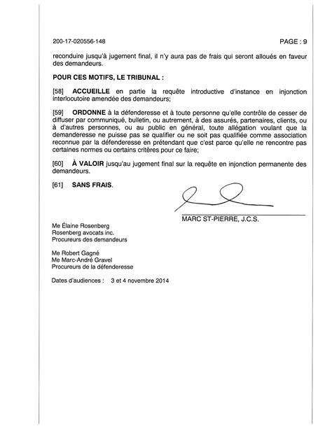 Exemple De Lettre Demande De Nouvelles Avis Litige Ssq Et Jugement