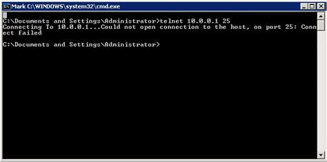 telnet host port windows unable to communicate with remote smtp server on