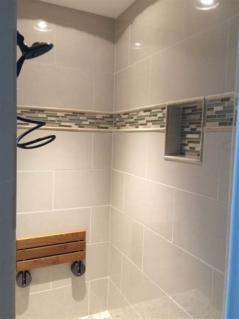 Kitchen Floor Band Porcelain Tile Shower With Niche And Glass Mosaic Deco