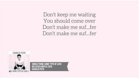 charlie puth suffer lyrics lyrics charlie puth suffer youtube