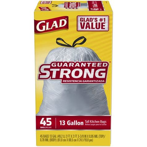 Paper Kitchen Garbage Bags Glad Kitchen Drawstring Trash Bags 13 Gallon 45