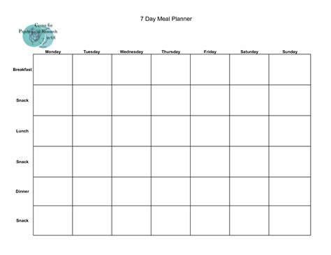 blank meal plan printable 7 best images of 24 hours weekly planner calendars