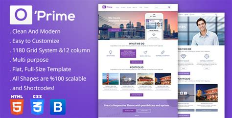 themeforest templates o prime multi purpose responsive html template by