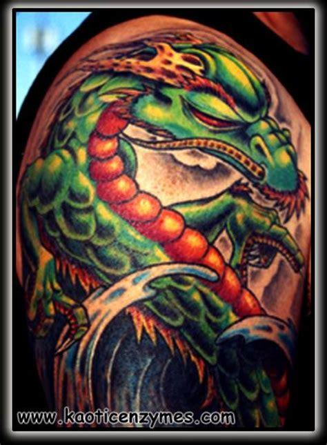 new school dragon tattoo green dragon new school dragon tattoos pinterest