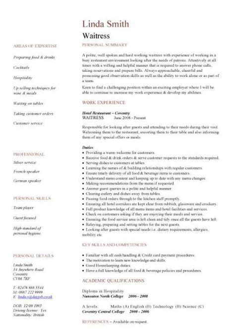 waitress resume template waiter resume new calendar template site