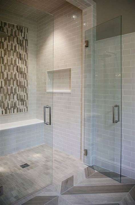 Star Tribeca 3 x 9 Bossy Gray shower wall tiles, Limestone