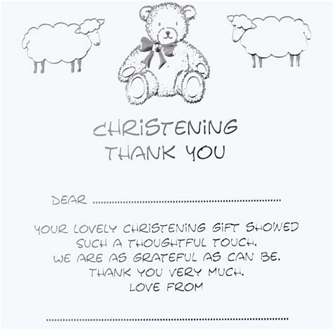 Thank You For The Card And Gift - luxury christening thank you for gift cards teddy bear threelittlebears co uk