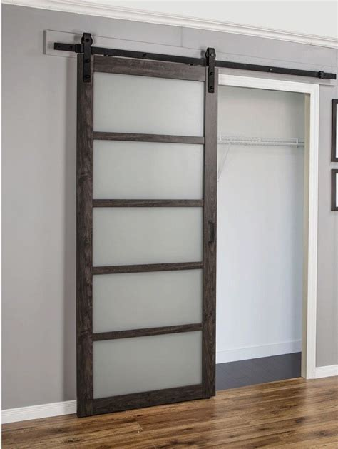 Frosted Glass Panel Interior Doors Continental Frosted Glass 1 Panel Ironage Laminate Interior Barn Door Eria1062 Ebay