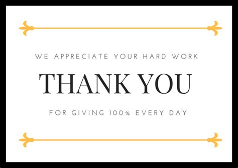 thank you card template for employees employee appreciation thank you note cards invitations