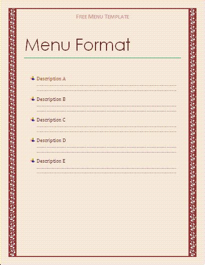 free template for menu menu templates free