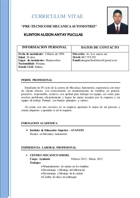 Modelo Curriculum Vitae Tecnico Mecanica Automotriz Cv Klinton Antay