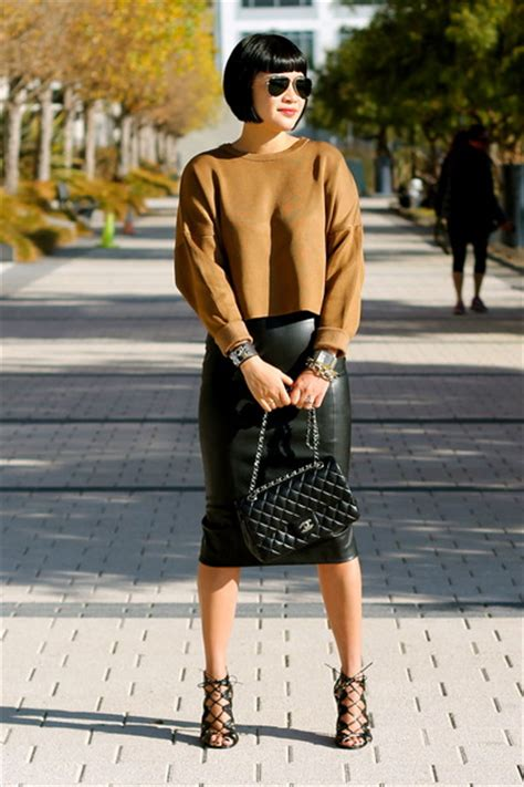 brown zara sweaters chanel bags faux leather zara skirts