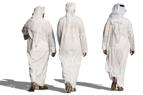 Umbrella Table Three Arab Men In White Thobes Walking Cut Out People