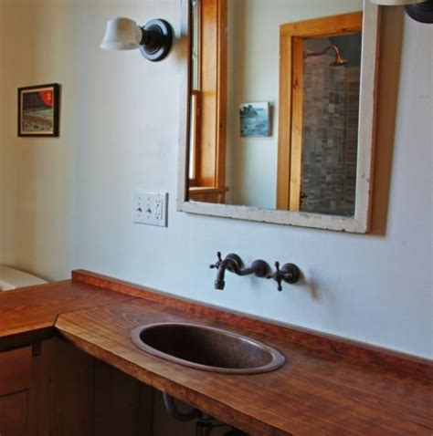 Wooden Bathroom Countertops by Wood Counter And Copper Faucet In Bathroom Hooked On Houses